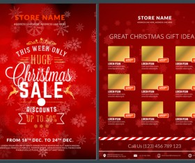 Christmas brochure template with gift card vector 07