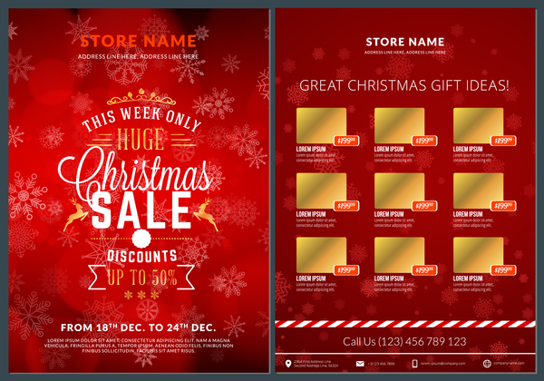 Christmas brochure template with gift card vector 07 free download