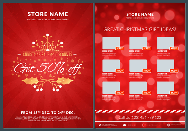 Christmas brochure template with gift card vector 08