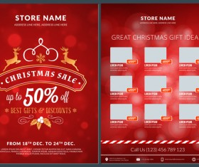 Christmas brochure template with gift card vector 09