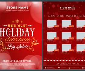 Christmas brochure template with gift card vector 10