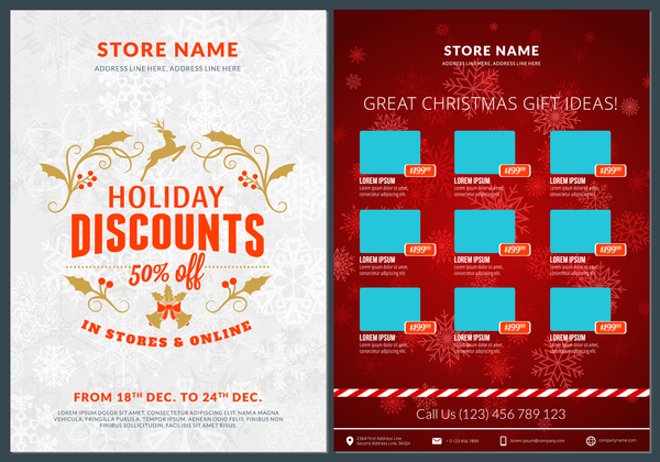 Christmas brochure template with gift card vector 11