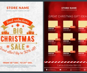 Christmas brochure template with gift card vector 12