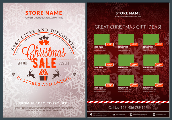 Christmas brochure template with gift card vector 15