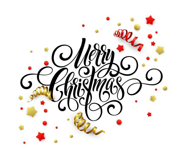 Christmas calligraphic with decoratiove elements vector