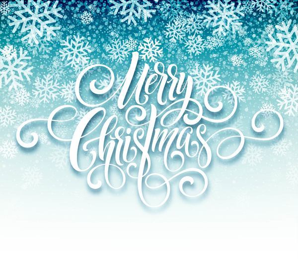 Christmas calligraphy design with snow background vector