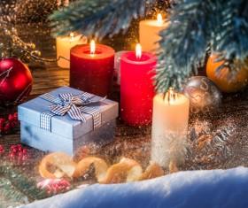 Christmas candlelight and decorative balls gift box Stock Photo
