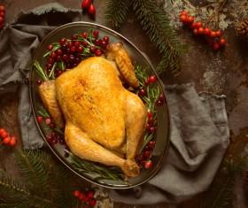 Christmas cherry turkey Stock Photo