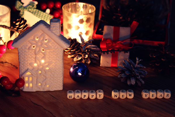 Christmas cookie house on the table Stock Photo