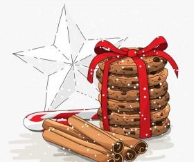 Christmas cookies food design vector 01