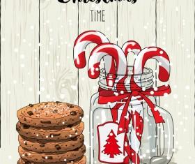 Christmas cookies food design vector 04