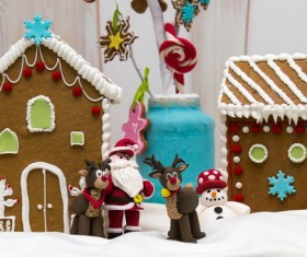 Christmas cookies house and trinkets Stock Photo