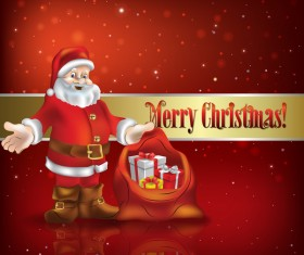 Christmas decorations and Santa Claus with red background vector