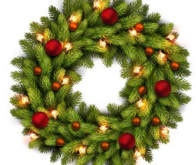 Christmas fir-tree wreath with white background vector