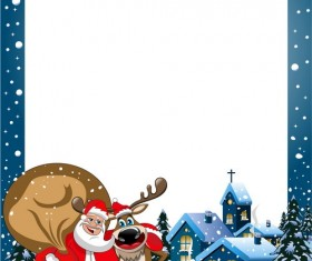 Christmas frame and santa claus vector material
