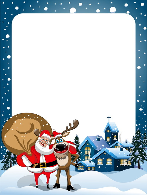 Christmas Frame And Santa Claus Vector Material Free Download