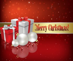 Christmas gifts and decorations with red background vector
