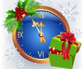 Christmas greenting card with clock vector material 01