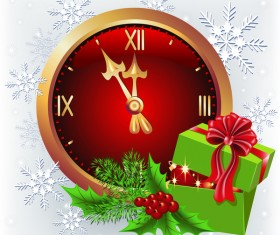 Christmas greenting card with clock vector material 02