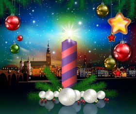 Christmas greeting card with panorama of city vector 01