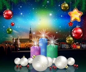 Christmas greeting card with panorama of city vector 02