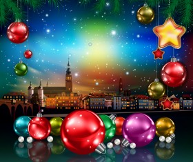 Christmas greeting card with panorama of city vector 03