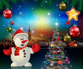 Christmas greeting card with panorama of city vector 04