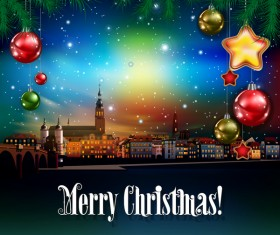 Christmas greeting card with panorama of city vector 06