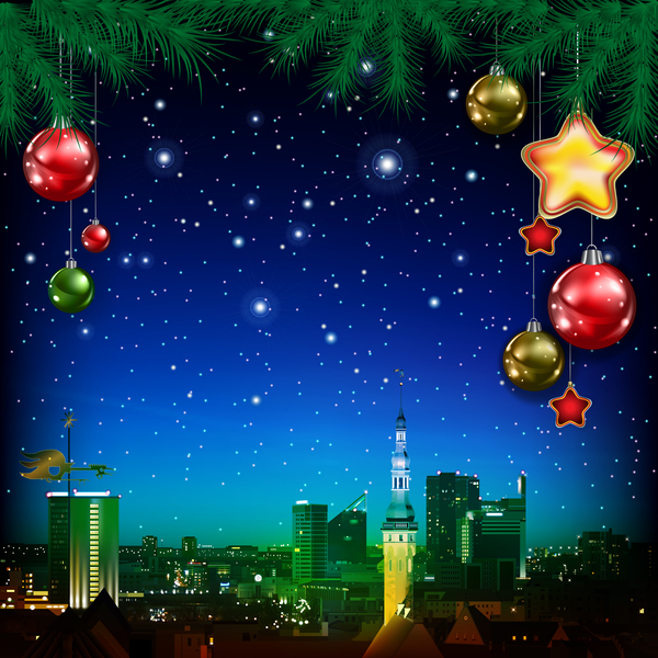 Christmas greeting card with panorama of city vector 08