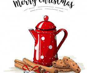 Christmas hand drawn sweet with tea vector 02