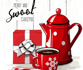Christmas hand drawn sweet with tea vector 03