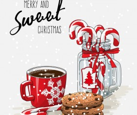 Christmas hand drawn sweet with tea vector 04