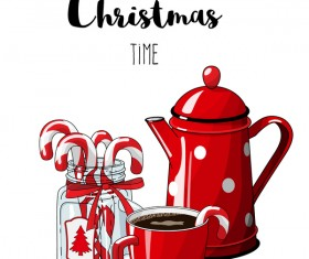 Christmas hand drawn sweet with tea vector 05
