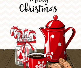 Christmas hand drawn sweet with tea vector 06