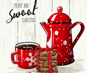 Christmas hand drawn sweet with tea vector 08