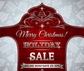 Christmas holiday discount sale red background vector 01