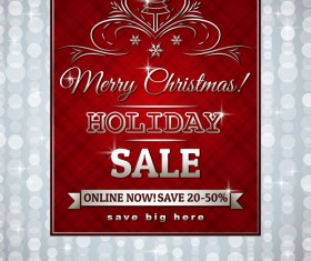 Christmas holiday discount sale red background vector 03
