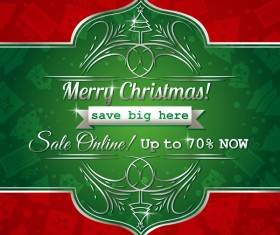 Christmas holiday discount sale red background vector 04