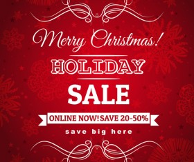 Christmas holiday discount sale red background vector 06
