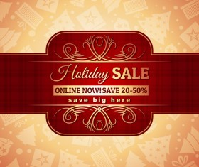 Christmas holiday discount sale red background vector 07