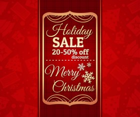 Christmas holiday discount sale red background vector 09