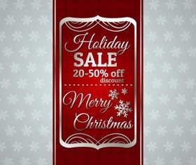 Christmas holiday discount sale red background vector 10