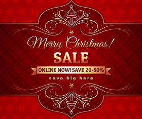 Christmas holiday discount sale red background vector 12