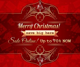 Christmas holiday discount sale red background vector 13