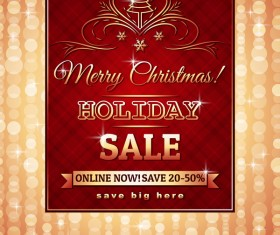 Christmas holiday discount sale red background vector 14