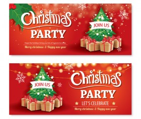 Christmas holiday red banners vector 01