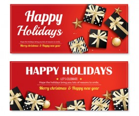 Christmas holiday red banners vector 02