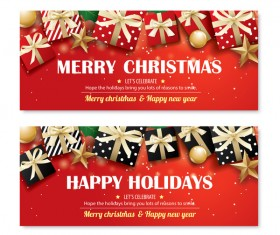 Christmas holiday red banners vector 03