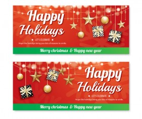 Christmas holiday red banners vector 04