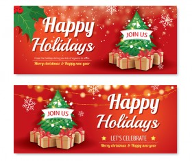 Christmas holiday red banners vector 05